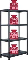 Legbordstelling 4 borden 200kg (INCL Beschermhandschoenen) - Plastic stelling - Opbergrek - Stellingkast