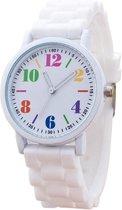 Fako® - Horloge - Siliconen - Regenboog Cijfers - Wit