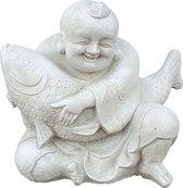 Boeddha beeld met vis - Boeddha beeld met Koi - Boeddhabeeld | GerichteKeuze