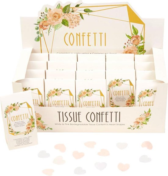 Biologisch afbreekbare bruiloft confetti doosje - Floral - 5 doosjes