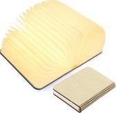 Boeklamp - lichtboek - Beige hout - 3 tinten wit licht instelbaar (helder wit, warm wit en geelwit) en dimbaar - groot - luxe uitvoering met Tyvek dupont papier - relatie geschenk