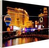 Fraai verlichte gebouwen Las Vegas Hout 60x40 cm - Foto print op Hout (Wanddecoratie)