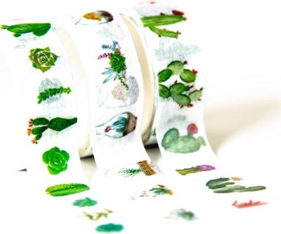 3 rolletjes Japanse Washi Tape Desert  Masking Tape Cactus