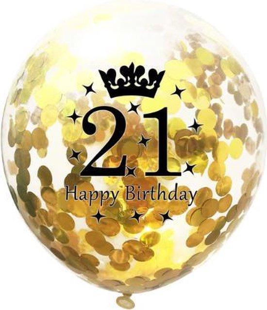 21 Jaar Ballonnen Set - Confetti - 5 stuks - Verjaardag Feest - Versiering - Goud - 30cm