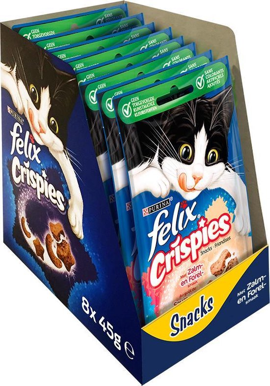 FELIX Crispies Snacks - Zalm/Forel- Kattensnack - 8 x 45 g
