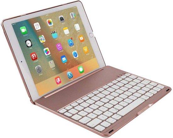 CaseBoutique Bluetooth Keyboard Case iPad 20182017Air 1 Toetsenbord Hoesje Rosé Goud Aluminium Afwerking QWERTY indeling