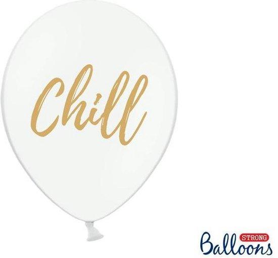 Ballonnen wit Chill goud 50 stuks