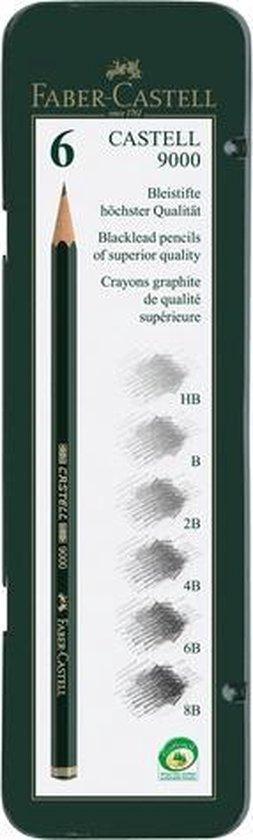 potlood Faber Castell 9000 bliketui a 6 stuks FC-119063