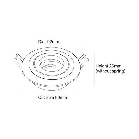Zoomoi Plafond inbouwspot, MR16/GU5.3, max. 50W, 12V, aluminium, 80mm, Inbouwspot