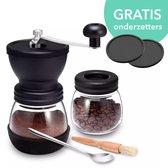 Flanner® Handmatige Koffiemolen - Schoonmaakborstel, Opscheplepel, Onderzetters en Koffiebakje – Coffee Grinder – Bonenmaler - Keramisch