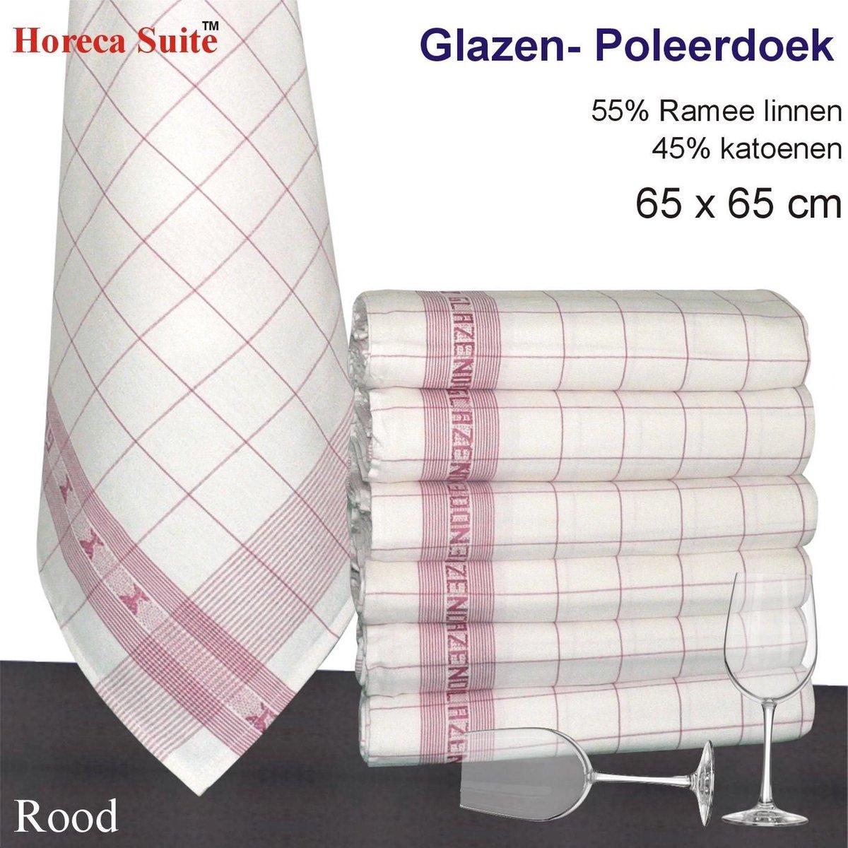 Hom    Glazendoek - Poleerdoeken jacquard rood ruiten 65x65cm - set van 6 stuks - 50% Ramee linnen 5