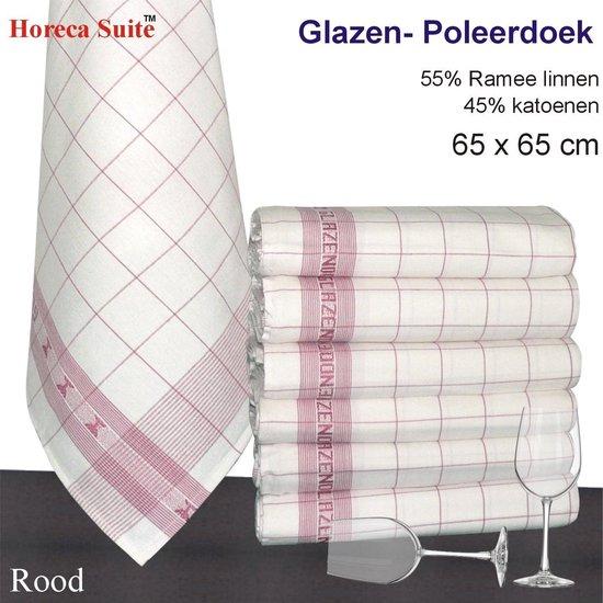 Homéé® Glazendoek - Poleerdoeken jacquard rood ruiten 65x65cm - set van 6 stuks - 50% Ramee linnen 50% katoen