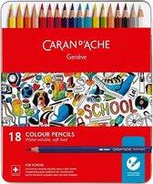 Caran d'Ache School Line Kleurpotloden Wateroplosbaar 18st, metalen doos