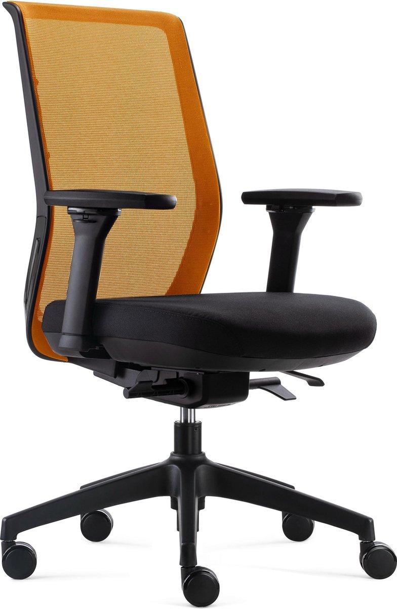 BenS 837 Synchro 4 Ergonomische Bureaustoel met alle instel opties Voldoet aan EN1335 en de Arbo normen Oranjezwart