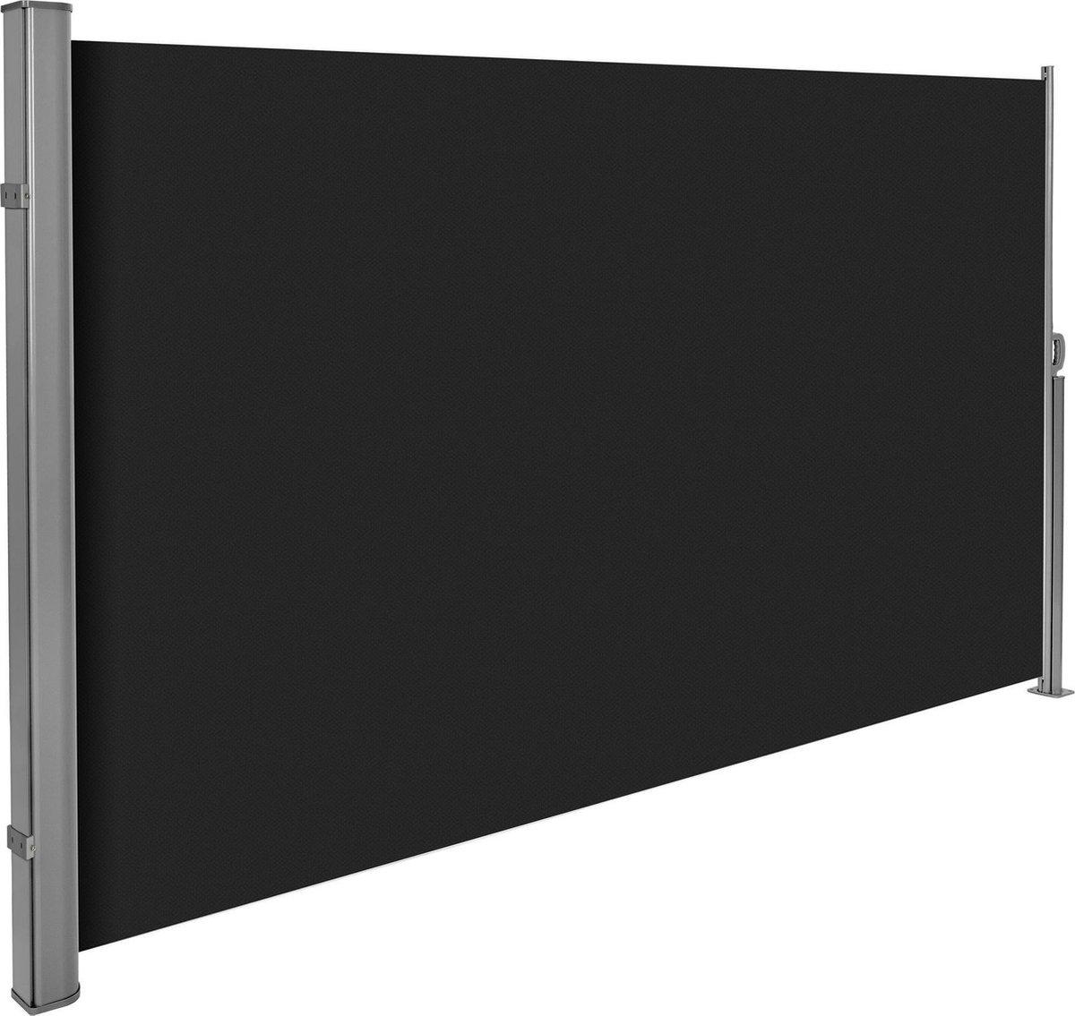 Uitschuifbaar aluminium windscherm tuinscherm 180 x 300 cm zwart 401528