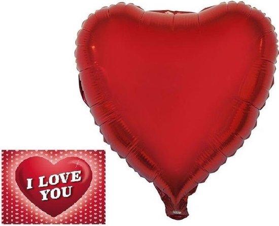 Folie helium ballon rood hartje 46 cm met valentijnskaart - Valentijnsdag cadeaus