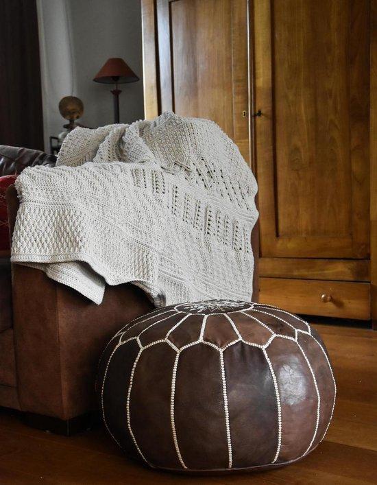 Leren Poef - Wood bruin - Handgemaakt en stijlvol - Gevuld geleverd - Poufs&Pillows