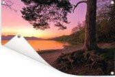 Kleurrijke hemel bij het Schotse Loch Lomond net na zonsondergang Tuinposter 60x40 cm - klein - Tuindoek / Buitencanvas / Schilderijen voor buiten (tuin decoratie)