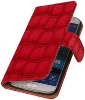 Samsung Galaxy S5 Mini Hoesje Glans Krokodil Bookstyle Rood