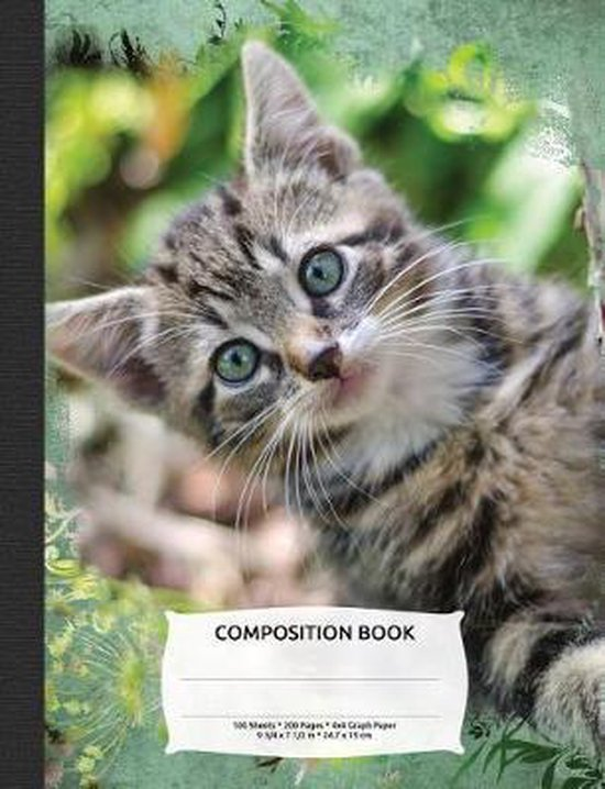 Cute Tabby Cat Composition Notebook, Graph Paper