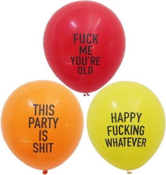 Grappige Beledigende Ballonnen Happy Fucking Whatever 12 stuks Rude Balloon