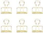 Kikkerland Paperclips - Set van 6 - Voor thuis en op kantoor - Goud