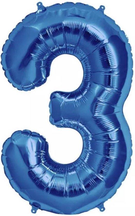 Folie Ballon Cijfer 3 Blauw 100cm - leeg