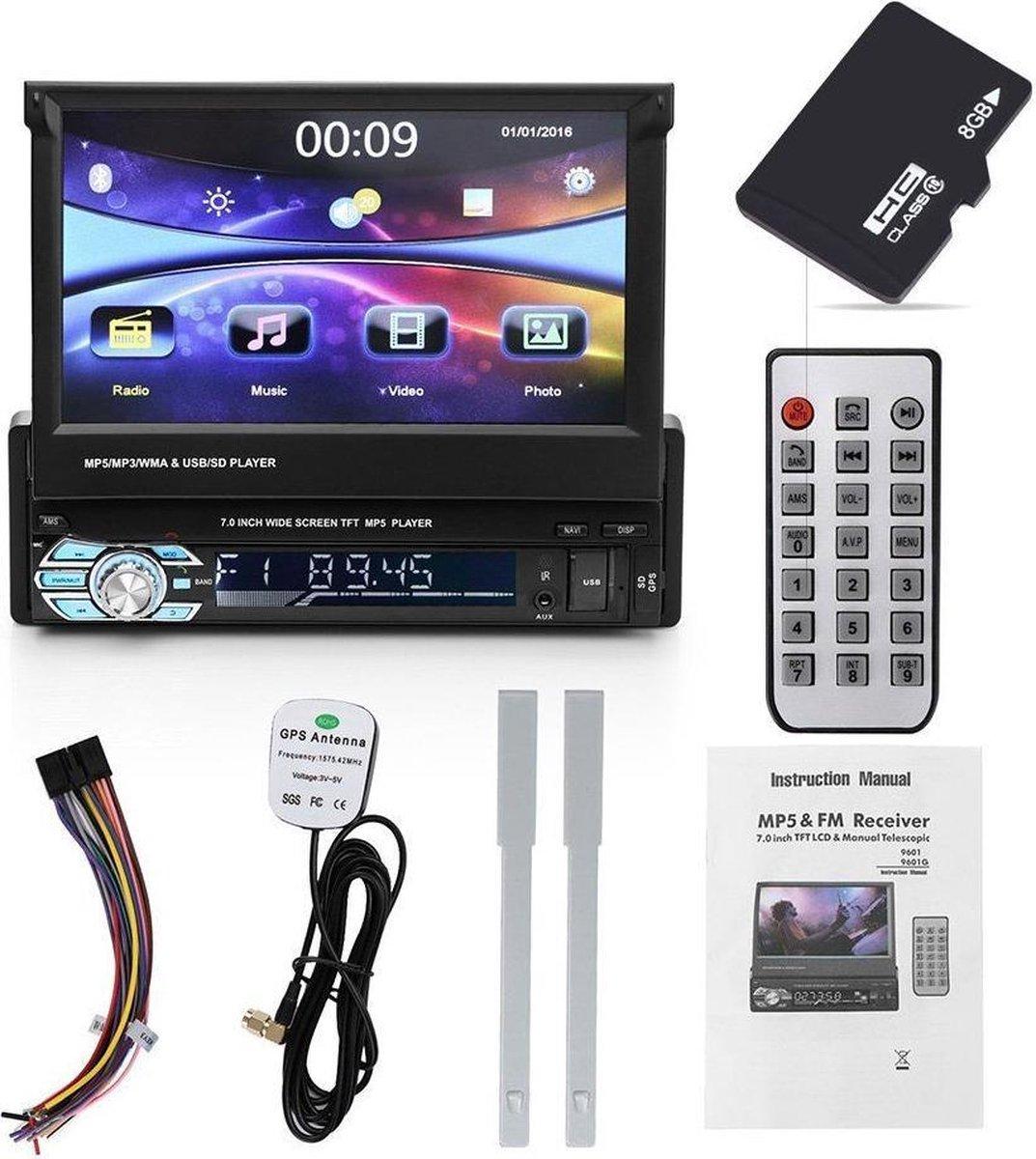 1 Din multimedia navigatie SD, Usb automatisch klapscherm