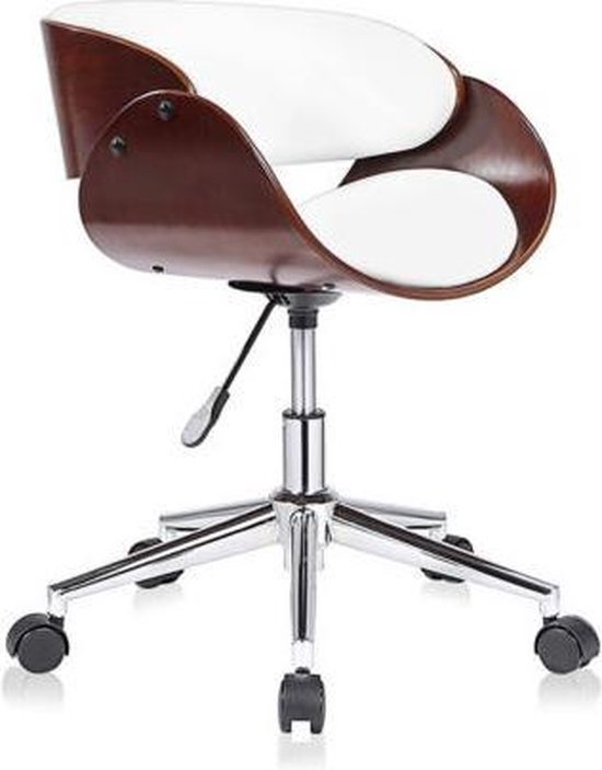 Vintage Design Bureaustoel.Bol Com Design Bureaustoel Retro Wit Bruin