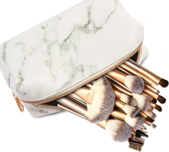 Evvie 24-delige make-up kwastenset - Beige/Goud - in etui Marble