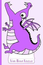 Purple Hungry Dragon Wide Ruled Notebook