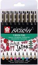 SAKURA Pigma Brush | Brushpen met penseelpunt in 9 kleuren
