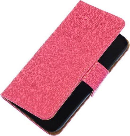 Roze Ribbel booktype wallet cover hoesje voor Apple iPhone 5C