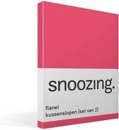 Snoozing - Flanel - Kussenslopen - Set van 2 - 50x70 cm - Fuchsia