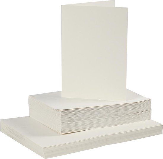 Afbeelding van Kaarten en enveloppen, afmeting kaart 10,5x15 cm, afmeting envelop 11,5x16,5 cm, 50 sets, off-white speelgoed