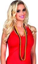Kralenketting rood/geel/zwart voor volwassenen - Carnaval verkleed accessoire - Belgie landen thema
