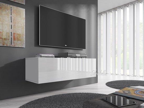 Zwevend Hoogglans Zwart Tv Meubel Flame 1 Lowboard Tv Kast.Tv Kasten Globos Giftfinder