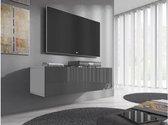 Meubella - TV-Meubel Flame - Grijs - Wit - 100 cm