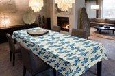 Joy@home Tafellaken - Tafelkleed - Tafelzeil - Afgewerkt Met Biaislint - Opgerold op dunne rol - Geen plooien - Trendy - Flora Blauw