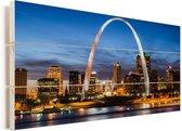De Amerikaanse stad St Louis bij zonsondergang Vurenhout met planken 80x40 cm - Foto print op Hout (Wanddecoratie)