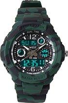 West Watch - Kinder Sport Horloge - Model Storm - Shockproof - Digitaal/Analoog - Groen/Zwart camouflage