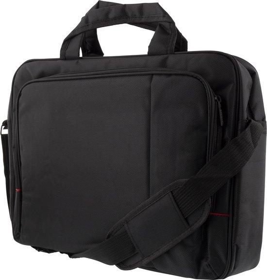 """DELTACO NV-785, Jacquard polyester laptoptas tot 15,6 """", schouderriem, 2 vakken met elk 2 binnenvakken, zwart"""