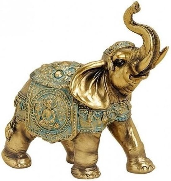 Olifant dieren beeldje goud 16 cm - Tuin decoratie/woonaccessoires dieren beelden