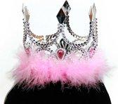 Tiara Prinsessenkroon zilver met roze bont