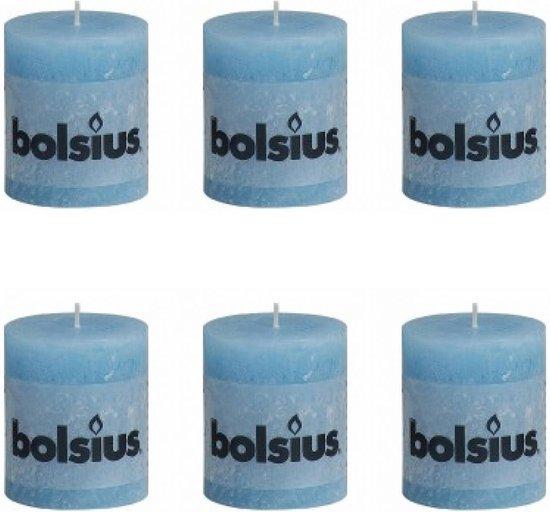 Bolsius Stompkaars 80/68 rustiek Aqua (per 6 stuks)