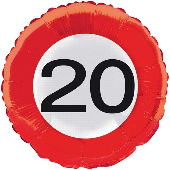 20 jaar verkeersbord folieballon - 46 cm