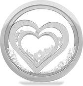 LOCKits 982501863 - Stalen glas munt - harten en kristalen - 33-2 mm - zilverkleurig