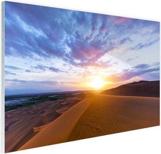 Woestijn tijdens zonsopkomst Glas 180x120 cm - Foto print op Glas (Plexiglas wanddecoratie) XXL / Groot formaat!