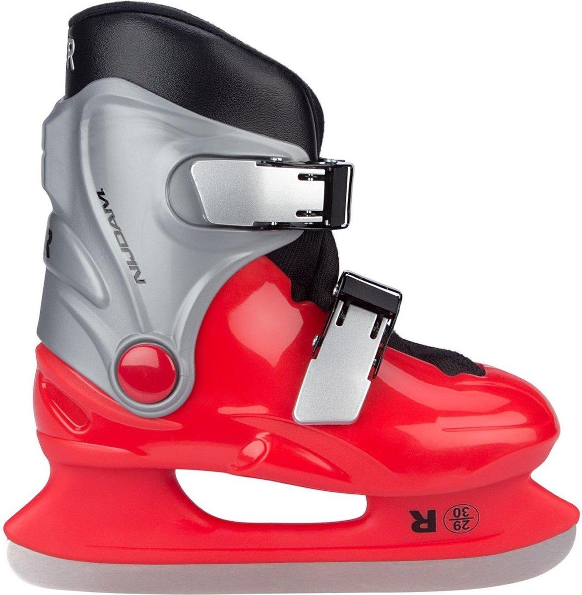 Nijdam Ijshockeyschaatsen Junior Maat 31-32 Rood/grijs
