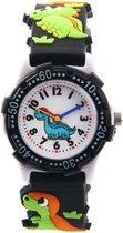 Dinosaurus horloge - 3D - kinderen - zwart - analoog - 28 mm - I-deLuxe verpakking
